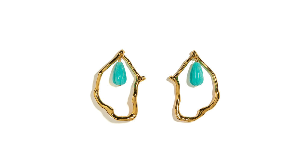 Full view of Formation Earrings In Amazonite. These gold-plated abstract statement earrings ...