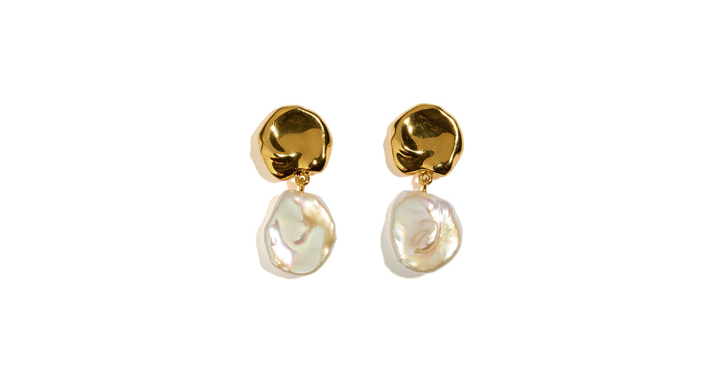 "Full view of Coin Reflection Earrings. Our understated gold ""coin"" top earrings wi..."
