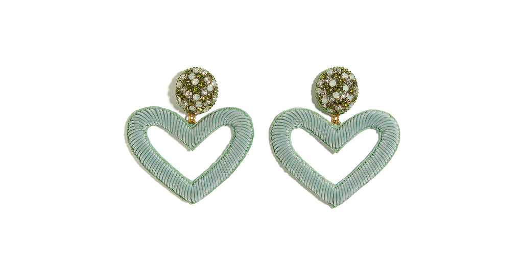 Full view of Embellished Heart Earrings In Sage. Keep your creative style close to your hear...