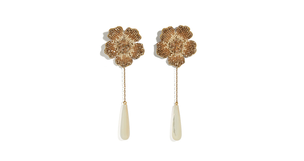 Full view of Champagne Floral Earrings. Fulfill those champagne wishes in the accessory of y...
