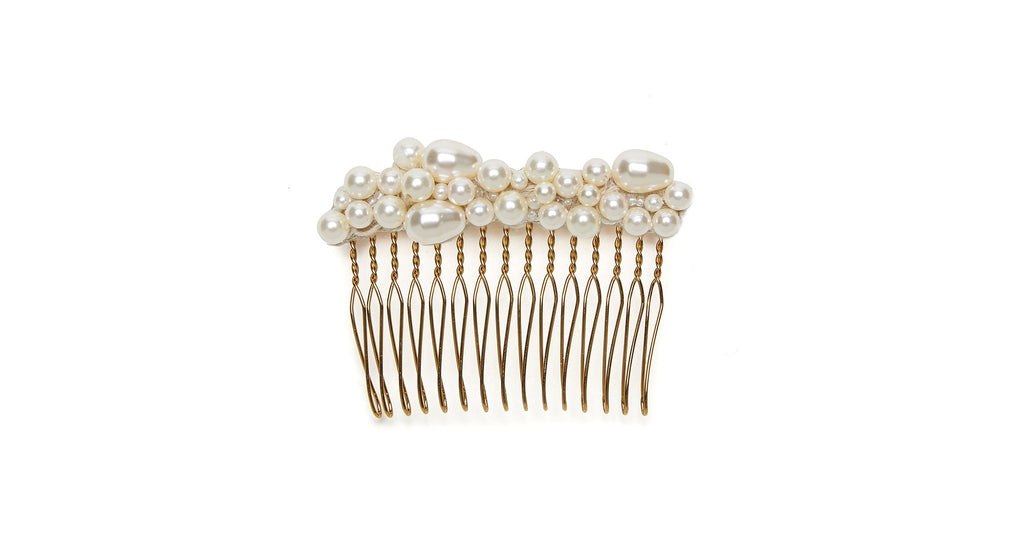 Full alt view of Pearl Pebble Hair Comb. Pinning down your hairstyle will be a piece of (wed...