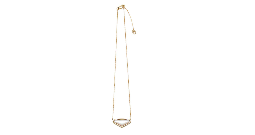 Full view of Kate Necklace In Pearl. From a white wedding to everyday wear, our gold vermeil pendant necklace with pearl triangle is a true accessory essential. This piece makes a stellar gift for your best friend or bridesmaids!