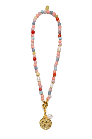 Confetti Coin Necklace in Candy