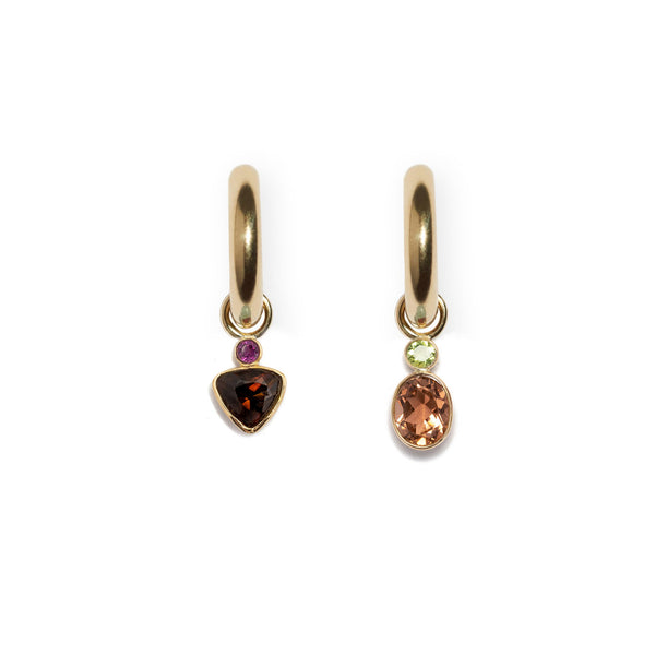 Rhodolite and Tourmaline Trillion 14k Earring Charm