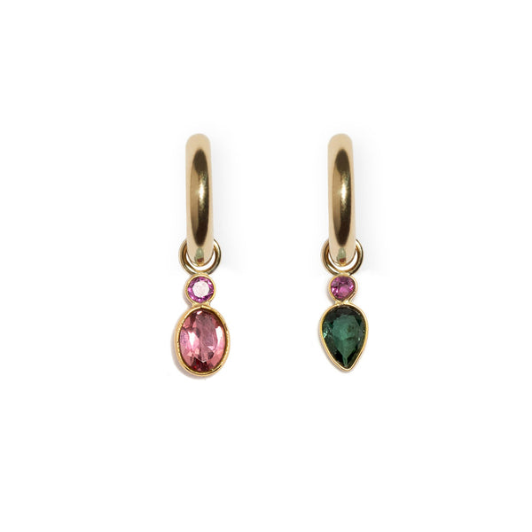 Pink Rhodolite and Tourmaline Drop 14k Earring Charm