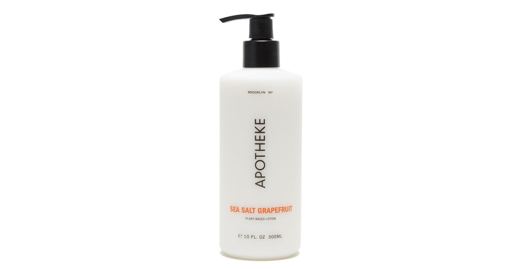 Full view of Sea Salt Grapefruit Lotion. Embrace the summery ocean tang of sea salt, black p...