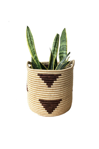 Handled Storage Basket in Brick Triangle