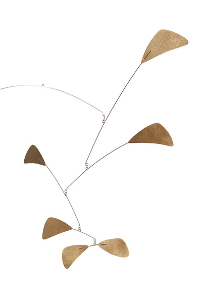 Close-up Thumbnail of Abstract Brass Mobile. Based on the abstract mobiles of the mid-century era, the elements are cut as stylized leaves with an elegant brass and black color scheme. Makes a playful yet graceful statement.