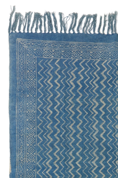 Thumbnail detail of Batik Indigo Dhurrie Rug. Lizzie found this block-printed deep blue rug ...