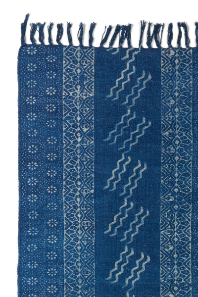 Thumbnail detail of Batik Indigo Dhurrie Rug. Lizzie found this hand-woven deep blue rug in India and fell in love with its playful block-printed patterns. This durable rug is perfect for kitchens and entryways.
