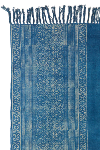 Thumbnail detail of Batik Indigo Dhurrie Rug. Lizzie found this hand-woven dhurrie rug in Ra...