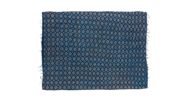 "Full view of Vintage Kantha. We love the unique indigo tone of this vintage kanthan quilt from Jaipur, India. Three panels of cotton (oftentimes from saris) are hand-stitched together with fine ""kantha"" stitches."