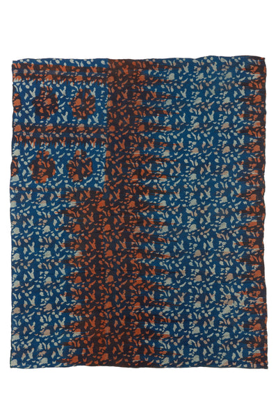 "Thumbnail of Vintage Kantha. We love the unique indigo tone and orange overdye of this vintage kantha from Jaipur, India. Three panels of cotton (oftentimes from saris) are hand-stitched together with fine ""kantha"" stitches."