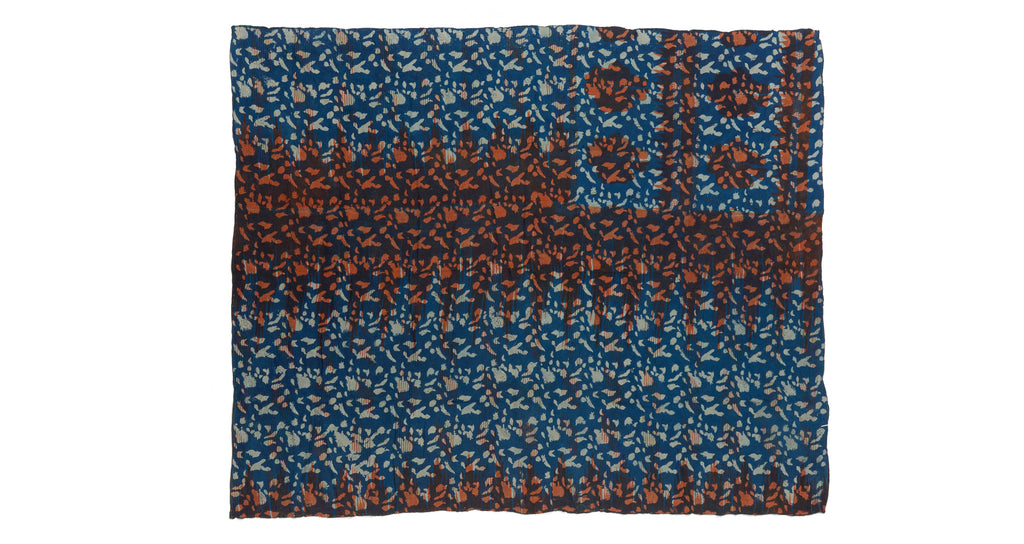 Full view of Vintage Kantha. We love the unique indigo tone and orange overdye of this vinta...