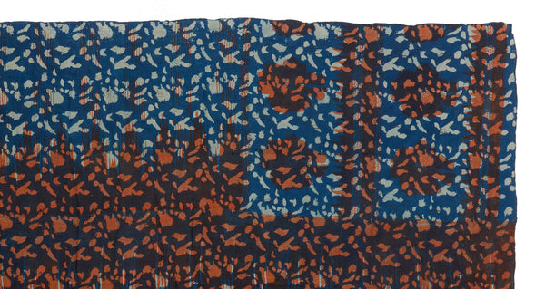"Alternate pattern detail of Vintage Kantha. We love the unique indigo tone and orange overdye of this vintage kantha from Jaipur, India. Three panels of cotton (oftentimes from saris) are hand-stitched together with fine ""kantha"" stitches."