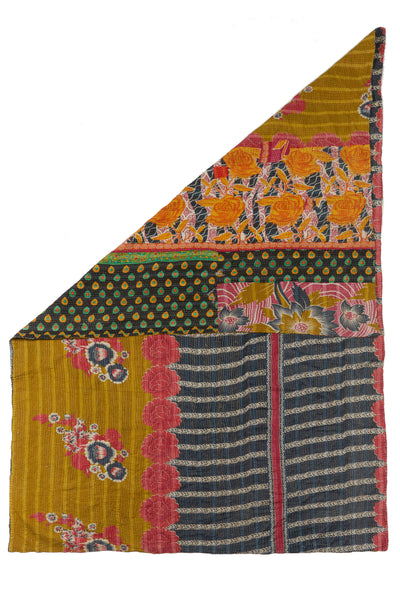 "Thumbnail of Vintage Kantha. This one-of-a-kind vintage kantha quilt from Jaipur, India is simply stunning with its mix of stripes, florals, and abstract patterns. Three panels of cotton (oftentimes from saris) are hand-stitched together with fine ""kantha"" stitches."