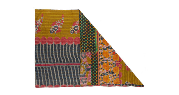 "Full view of Vintage Kantha. This one-of-a-kind vintage kantha quilt from Jaipur, India is simply stunning with its mix of stripes, florals, and abstract patterns. Three panels of cotton (oftentimes from saris) are hand-stitched together with fine ""kantha"" stitches."