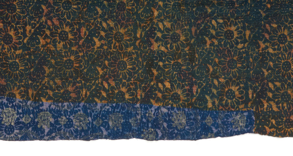 "Pattern close-up of Vintage Kantha. The subtle variations in tone are what make this vintage one-of-a-kind kantha quilt from Jaipur, India so completely unique. Three panels of cotton (oftentimes from saris) are hand-stitched together with fine ""kantha"" stitches. This one would be perfect for draping over a sofa or at the end of the bed."