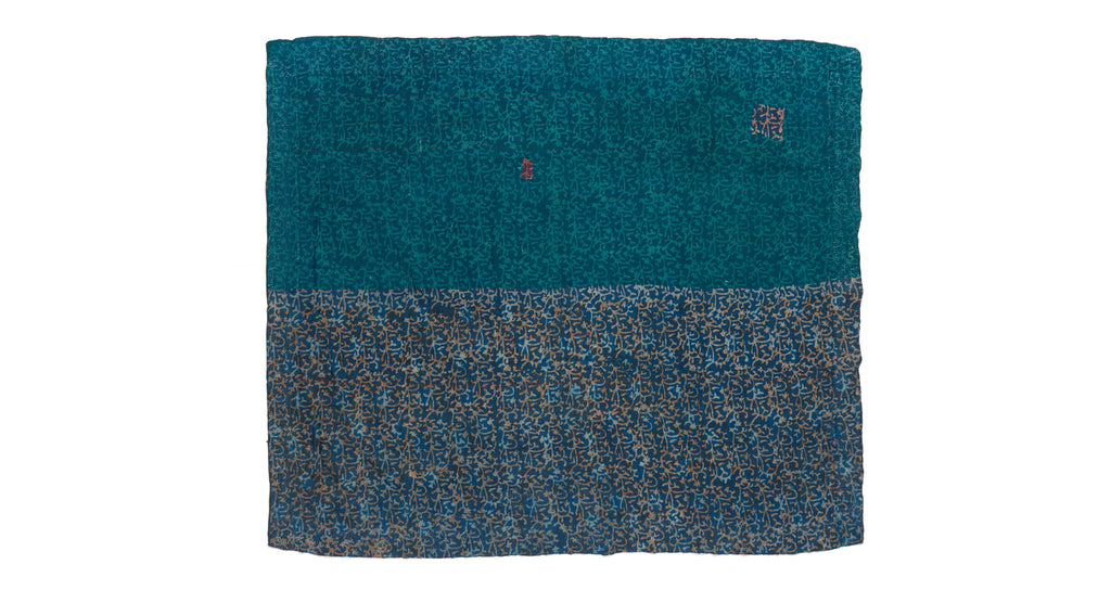 "Full view of Vintage Kantha. The subtle color variations and unique symmetry make this vintage one-of-a-kind kantha from Jaipur, India so special. Three panels of cotton (oftentimes from saris) are hand-stitched together with fine ""kantha"" stitches. This would be perfect for draping over a sofa or at the end of the bed."