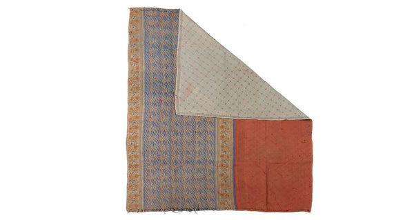 "Full view of Vintage Kantha. We love the artful mix of patterns on this unique quilt. Three panels of cotton (oftentimes from saris) are hand-stitched together with fine ""kantha"" stitches to create this one-of-a-kind find."