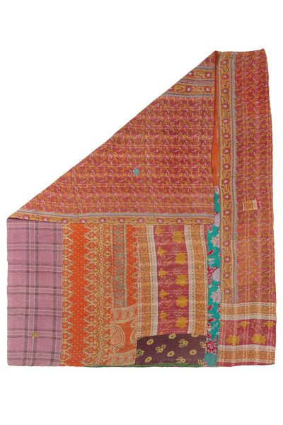 "Thumbnail of Vintage Kantha. Three panels of cotton (oftentimes from saris) are hand-stitched together with fine ""kantha"" stitches to create this one-of-a-kind find. We love the artful interplay of colors & patterns on this bright quilt."