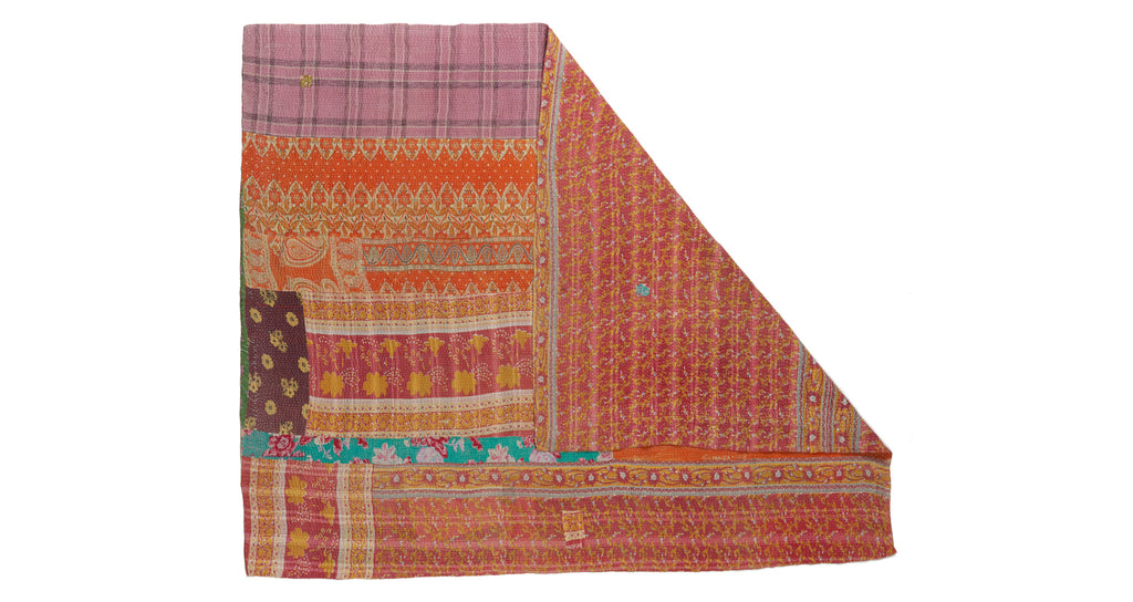 "Full view of Vintage Kantha. Three panels of cotton (oftentimes from saris) are hand-stitched together with fine ""kantha"" stitches to create this one-of-a-kind find. We love the artful interplay of colors & patterns on this bright quilt."