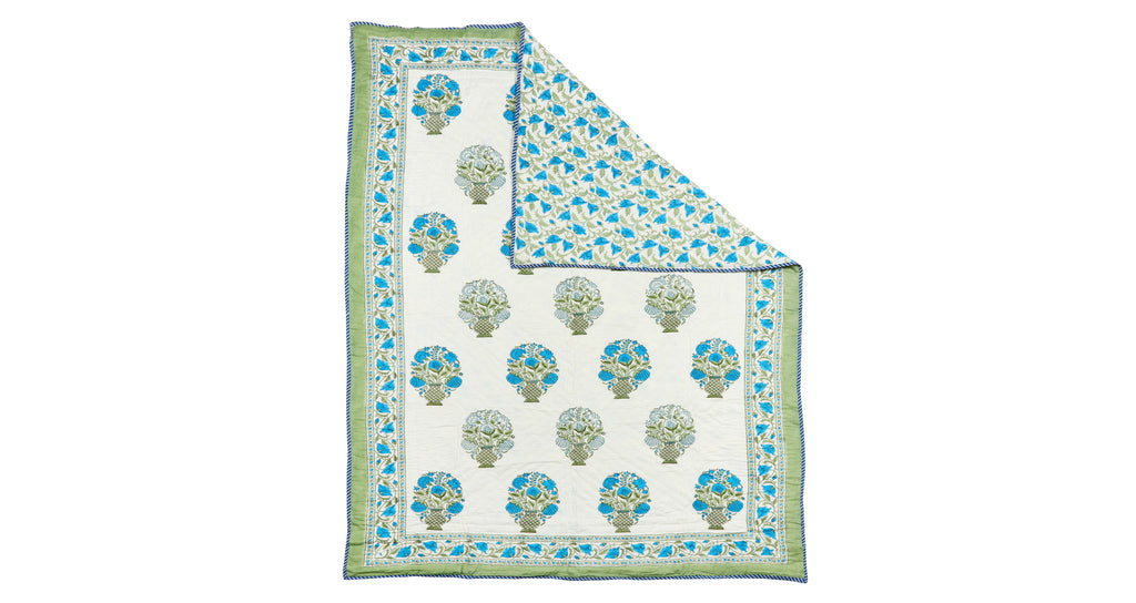 Full view of Twin Size Bedspread. We adore the blue and green color palette on this sweet re...