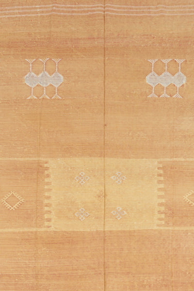 Thumbnail close-up of Large Moroccan Rug. We love this soft golden orange hand-woven silk ru...