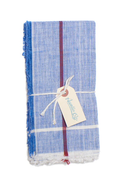 Thumbnail close-up of Cotton Napkin Set. Bring a colorful, rustic touch to your next meal with this hand-woven blue cotton napkin set with raw edges. Made with care in India.