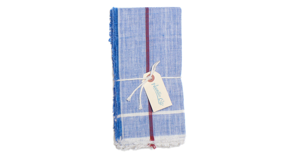 Full view of Cotton Napkin Set. Bring a colorful, rustic touch to your next meal with this hand-woven blue cotton napkin set with raw edges. Made with care in India.