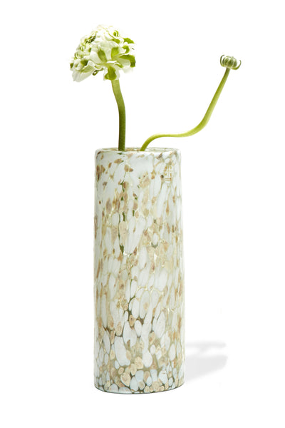 Thumbnail of Confetti Vase with flowers. This mouth-blown vase is marbled with colored specks of glass for a festive and unique confetti pattern. Sturdy enough to hold your most ambitious flower and branch arrangements, it can also be used for candles (just imagine the pretty light that shines through!).