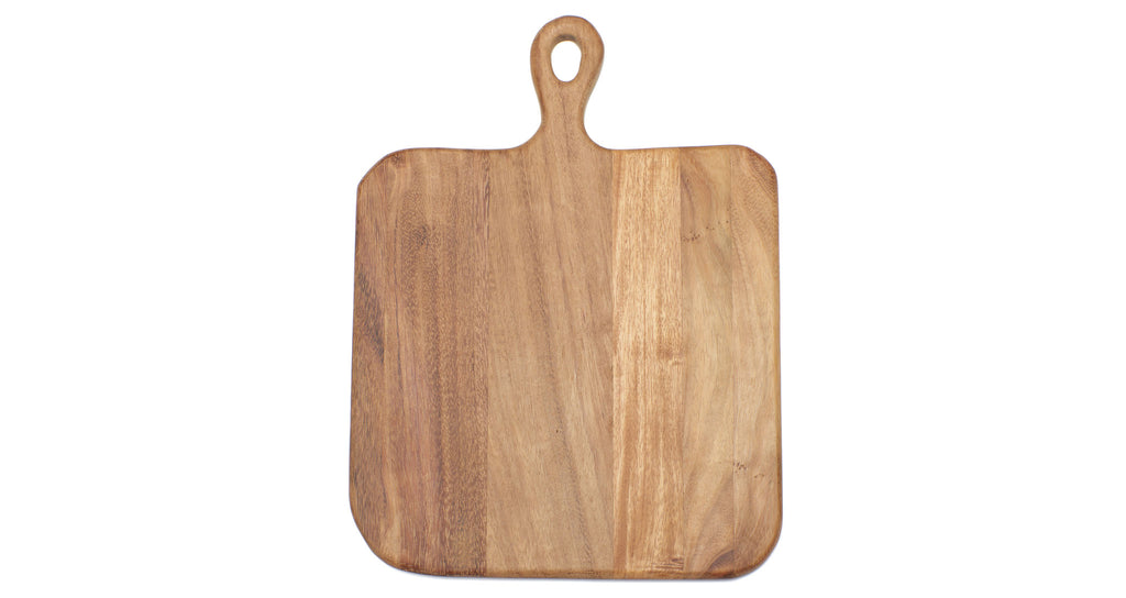 Full view of Square Cutting Board. Here's a cutting board that might attract as much attention as the things you put on it. With clean organic lines to emphasize the natural state of the wood, rounded edges for a comfortable grip, and a generous square size to fit all your holiday spreads. Oh, and it's great for serving pizza on!  Ethically sourced and hand-crafted from caro caro wood by a cooperative artisan group in Guatemala.