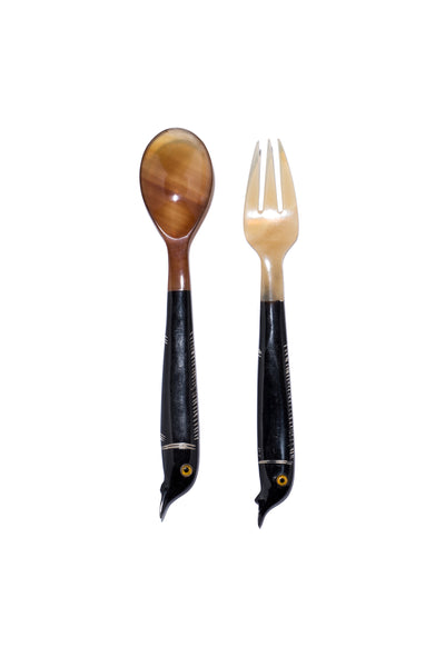 Carved Spoon & Fork Set