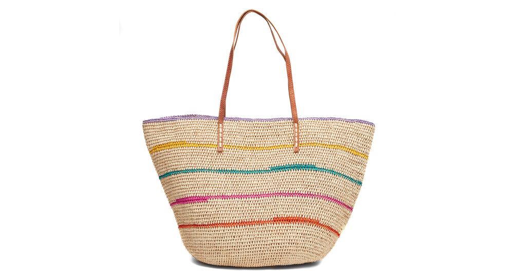 Crocheted raffia tote in natrual with rainbow stripes with cotton lining, leather straps and...