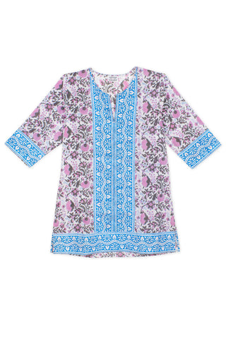 Short Kurta in Violet Padra