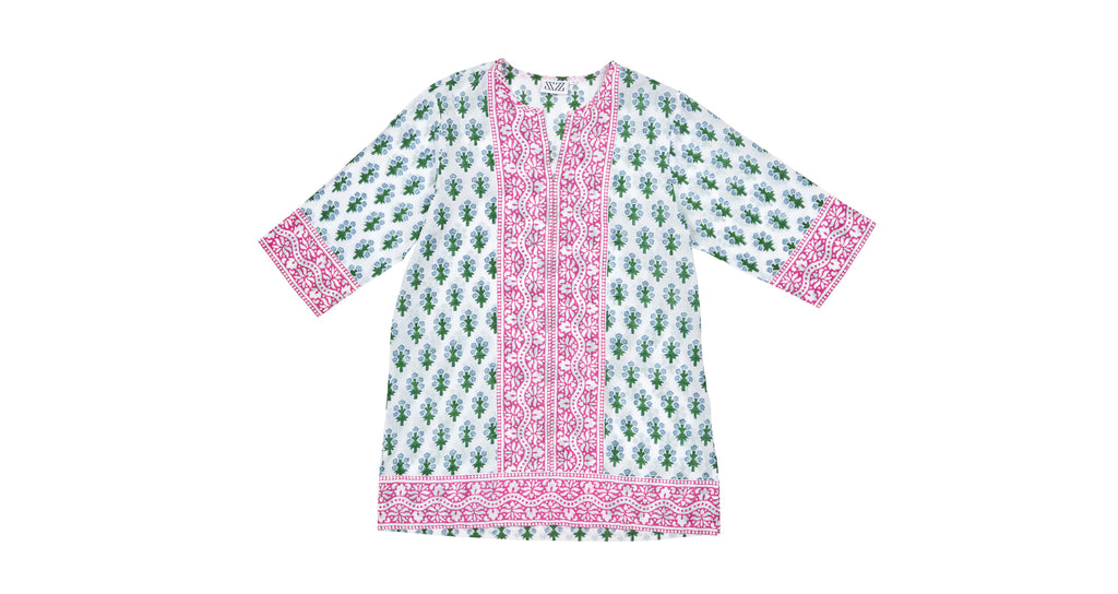 Full view of Short Kurta In Green/Blue Floral. This flattering and versatile tunic is tailor...