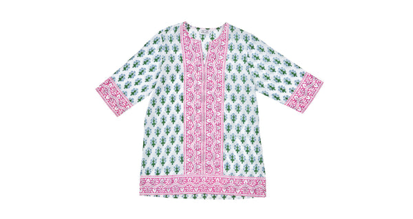 Full view of Short Kurta In Green/Blue Floral. This flattering and versatile tunic is tailored for a relaxed, boxy shape, with contrasting pink border trim at the sleeves, hem, and down the center. Perfect to throw on over a bathing suit, or with a pair of white jeans.