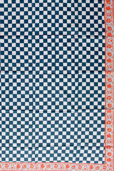 Thumbnail close up of Sarong in Gaze Blue Check Print. We've sourced the softest block-print...