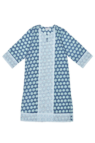 Long Kurta in Blue Bagru Stamp