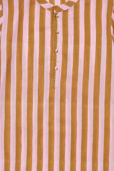 Thumbnail pattern detail of Isla Frock In Pink. Nothing like a light summer dress! This long striped number is cut in a traditional kurta shape, with button placket and contrasting border trim at the sleeves and hem. Great to wear as a beach cover-up, to a garden party, or just for lounging at home.