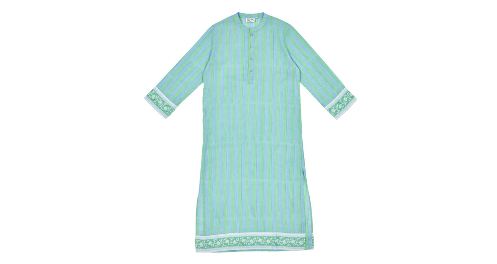 Full view of Isla Frock In Blue. Nothing like a light summer dress! This long striped number is cut in a traditional kurta shape, with button placket and contrasting border trim at the sleeves and hem. Great to wear as a beach cover-up, to a garden party, or just for lounging at home.