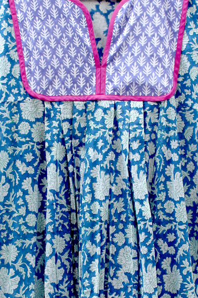 Thumbnail close up of Kitty Dress in Blue and Green Nila. Nothing like a light summer dress!...