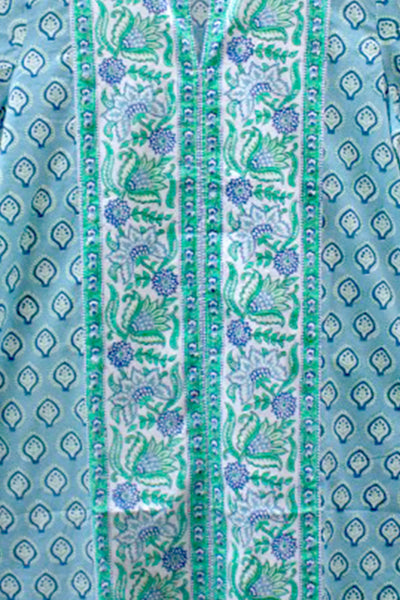 Thumbnail close up of Long Kurta in Blue and Green Bagru Stamp. Nothing like a light summer ...