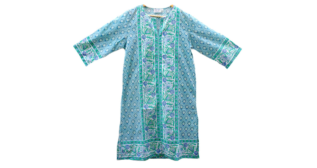 Full view of Long Kurta in Blue and Green Bagru Stamp. Nothing like a light summer dress! Th...