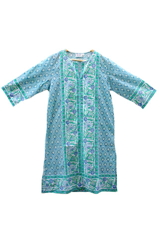Long Kurta in Blue and Green Bagru Stamp