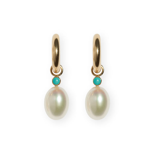 Pearl & Turquoise 14k Earring Charm