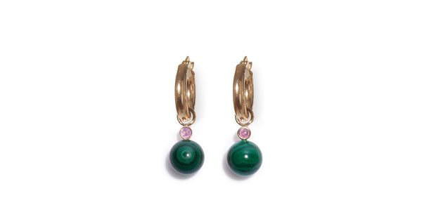 Malachite and Pink Tourmaline 14k Charm