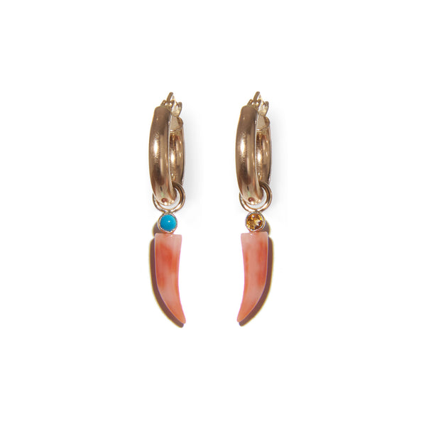 Coral Horn 14k Earring Charm