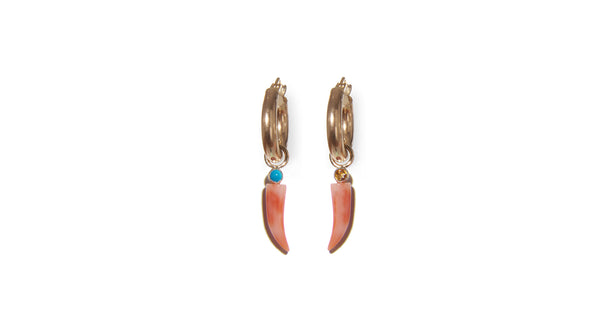 Coral and Turquoise 14k Charm