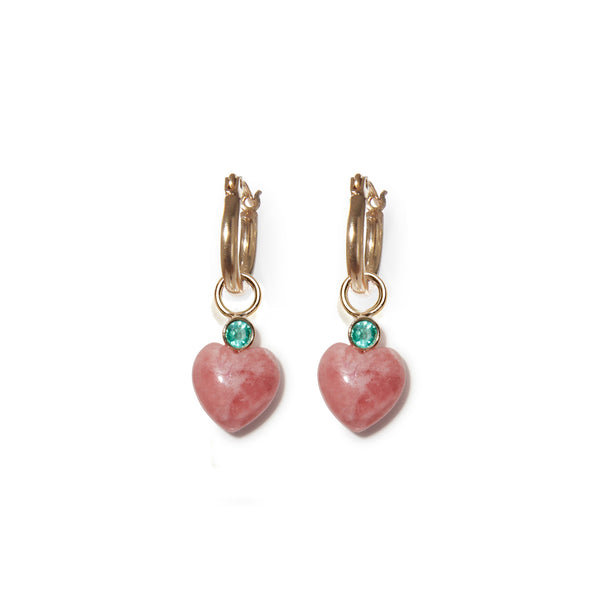 Thumbnail of Rhodochrosite Heart 14k Charms on hoops. We took our customizable Mood Hoop con...